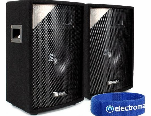 Skytec 2x Skytec 8`` Portable Passive PA DJ Party Sound System Bedroom Speakers 400W product image
