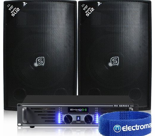 Skytec 2x Skytec SL 12`` Portable PA DJ Party Speakers   Amplifier   Cable System 1200W