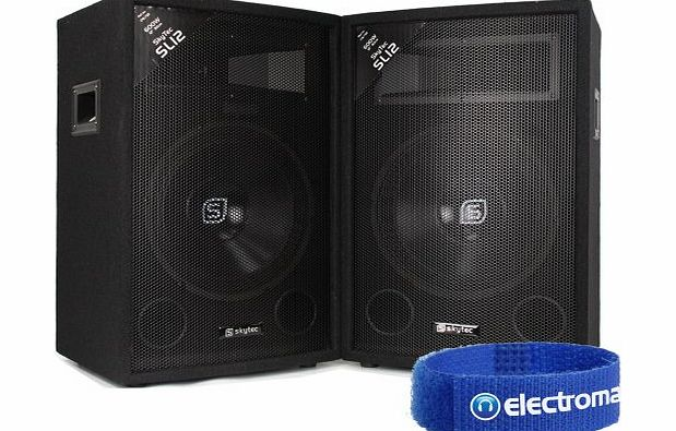 Skytec 2x Skytec SL12 12`` Passive PA Speakers Party Disco DJ Sound Setup Package 1200W product image