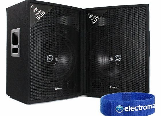 Skytec 2x Skytec SL15 15`` Inch PA Speakers Disco Party DJ Sound System 1600W product image