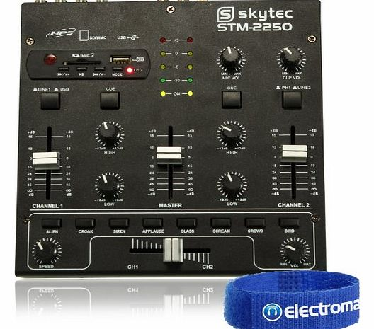 Skytec 4-Channel Portable Easy As 1, 2, 3 MP3 USB Mini DJ Deck Mixer Disco Party product image