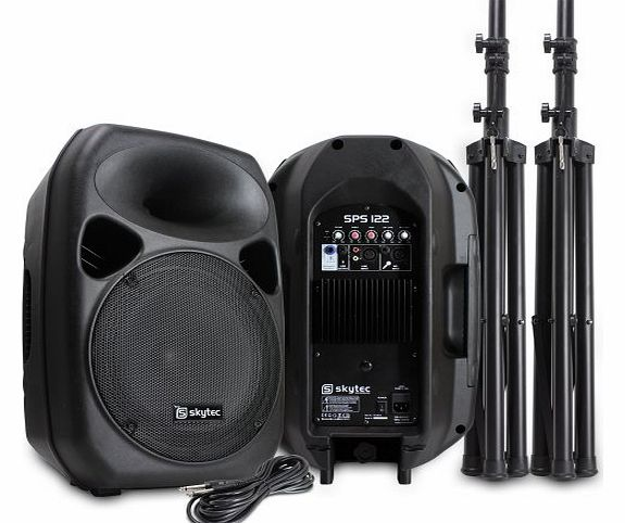Skytec Pair of Skytec 12`` Passive and Active PA Speakers + Stands 700W product image