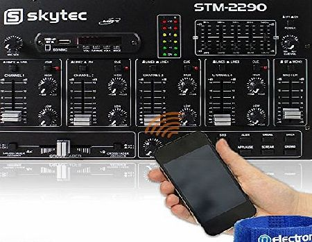 Skytec STM2290 Sound Effects Bluetooth Wireless Audio DJ PA Mixer 8-Channel SD USB MP3