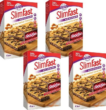 Slim Fast, 2102[^]0139027 SlimFast Nutty Salted Caramel 4 Packs of 4 x 60g