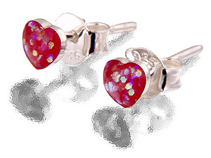 Silver Pink Glitter Heart Shaped Earrings 060392