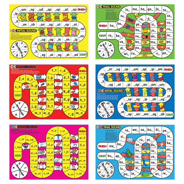 CVC-CVCC-Spelling-board-games-Smart-Kids-L42-This-excellent-set-of-6-board-games-teaches-letter-sound-correspondences-and-early-word-building-of-CVC-CVCC-and-CCVC-words-Ideal-for-small-groups-these-games-reinforce-phonemic-awareness-operations-of-iso - CLICK FOR MORE INFORMATION