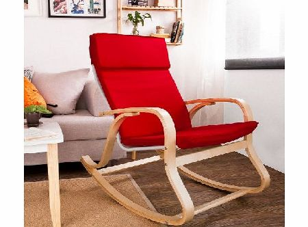 SoBuy Comfortable Relax Rocking Chair, Lounge Chair with Cotton Fabric Cushion, FST15-R, Red product image
