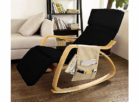 SoBuy Comfortable Relax Rocking Chair with Foot Rest Design, Lounge Chair, Recliners Poly-cotton Fabric Cushion with Side Storage Bag,FST16-SCH,Black Color product image