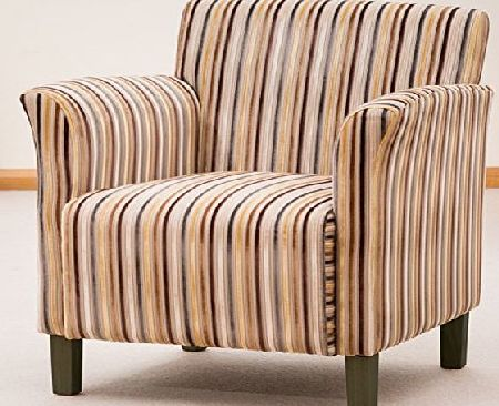 Sofa Collection Brand New Vivaldi Striped Fabric Tub Chair/Armchair Seating, Fabric, Brown, 75 x 74 x 85 cm