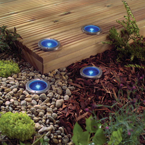 decking gravel and garden borders with these solar deck lights crea