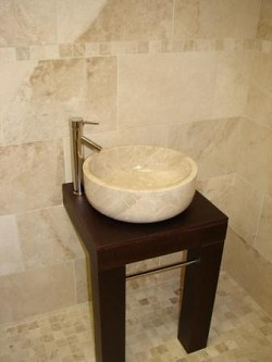 Stone Basin Light Marble Curved Base