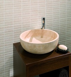 Solid Stone Basin Travertine Curved Base product image