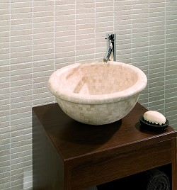 Stone Basin Travertine Mosaic Curved Base