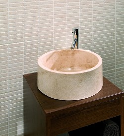 Solid Stone Basin Travertine Square Base product image