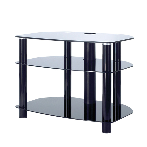 710mm Wide 3 Tier TV Stand with Black Glass and Max Weight Load of 90kg - CLICK FOR MORE INFORMATION