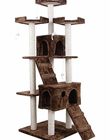 Songmics Cat Tree Cat Scratcher Activity Centres Scratching Post about 180cm Brown PCT53K product image