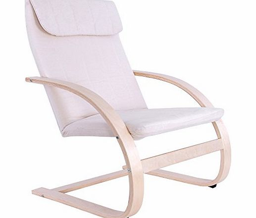 Songmics Lounge Relax Rocking Chair With Washable Covers and Foot Rest Design, Beige color, comfortable Recliners Garden Armchair LYY10M product image