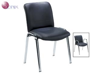 Sonix leather reception chair. Flexible seating for reception & conference room usage. Deluxe bl - CLICK FOR MORE INFORMATION