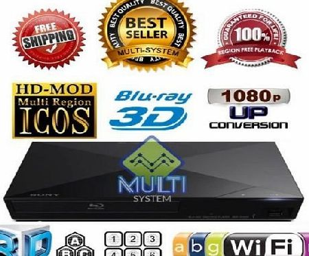 Sony NEW 2014 SONY BDP-S5200 2D/3D Wi-Fi Multi Region Zone Free Blu Ray DVD Player - PAL/NTSC - Worldwide Voltage 100~240V - 1 USB, 1 HDMI, 1 COAX, 1 ETHERNET Connections   6 Feet HDMI Cable Included.