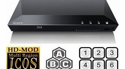 Sony NEW SONY BDP-S1100 Multizone All Region Code Free DVD Blu ray Player - 1 USB, 1 HDMI, 1 COAX, 1 ETHERNET   6 Feet HDMI Cable Included. Small Size (W x D x H) 290 x 193 x 42 mm. 100~240V 50/60Hz Intl V