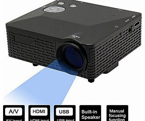 Sourcingbay Portable Mini Hd LED Projector Cinema Theater For Iphone/Ipad Support AV/VGA/USB/SD/HDMI Input Black