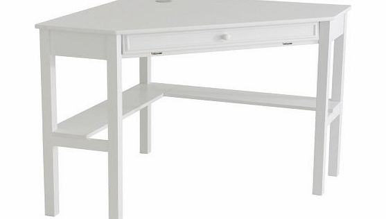 Southern Enterprises, Inc. Home Office Corner Computer Desk with Retractable Keyboard, Chic White product image