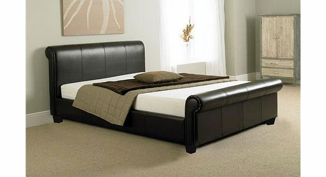Stag Stores NEW 5ft BROWN FAUX LEATHER SLEIGH KING SIZE SCROLL BED AND  639 x 347