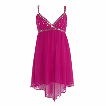 Babydoll Dress on Star By Julien Macdonald Magenta Embellished Silk Babydoll Dress