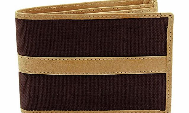 STARHIDE MENS DESIGNER CANVAS / ITALIAN BROWN / TAN LEATHER SLIM FOLD WALLET GIFT BOXED - BEST XMAS GIFT