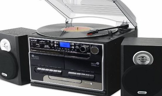 Steepletone (DTL Package) Steepletone SMC386r BT - 8 in 1 Music System NEW Model with Bluetooth* - 3 Speed Record Turntable - CD Player - FM amp; MW Radio - Playback amp; Encode RECORDING to USB Stick / SD Memory Card - TWIN