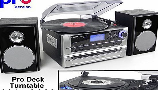 Steepletone SMC1033 PRO (new PRO Deck Turntable) 6-in-1 Music System Home Audio System - Turntable Record Player to CD, CD to CD ~ AND ~ MP3 Recording - Radio - AUX IN amp; OUT (Black / Silver)