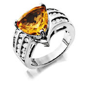 STERLING SILVER CITRINE CUBIC ZIRCONIA COCKTAIL product image