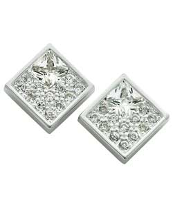 Sterling Silver Cubic Zirconia Set Square Stud Earrings product image