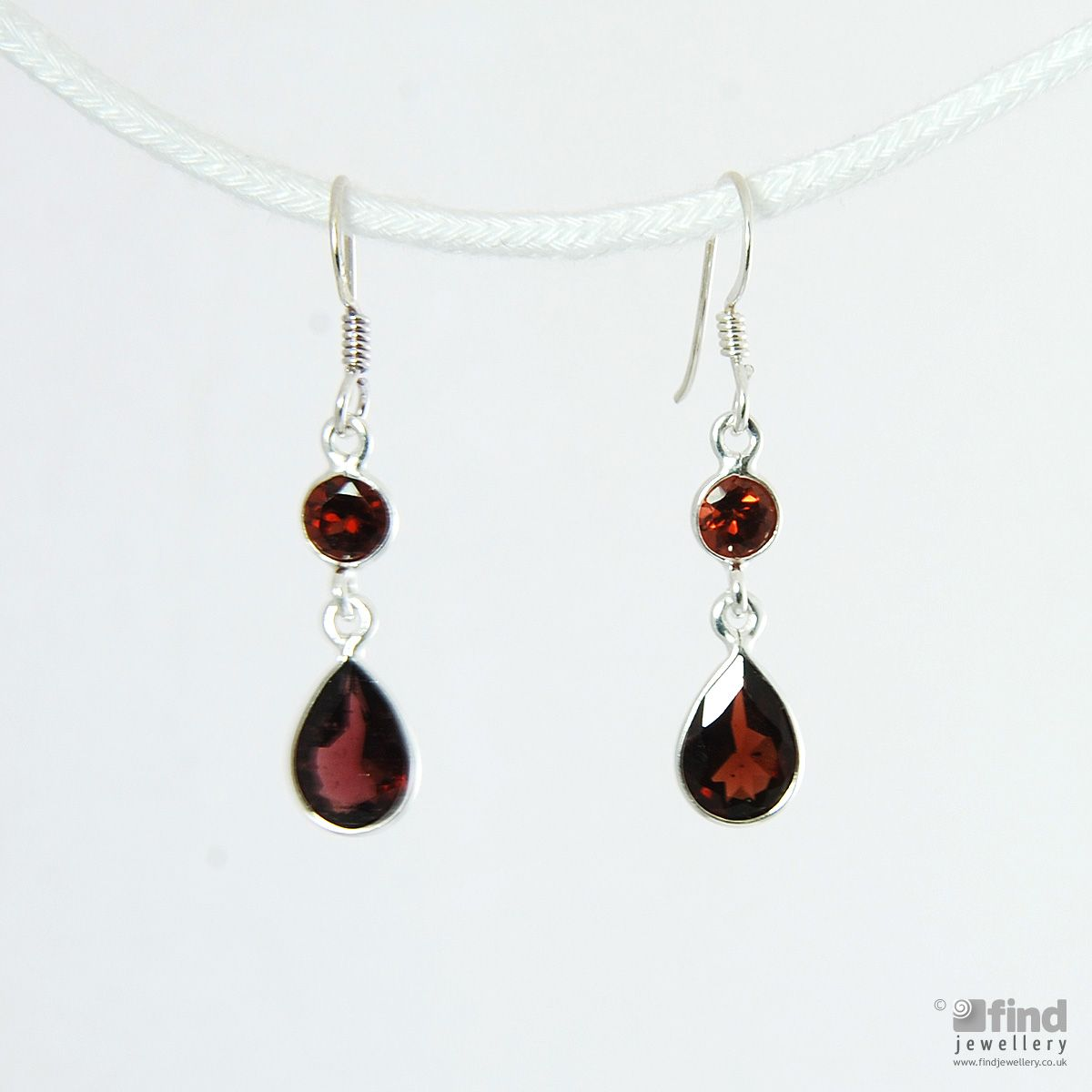 Silver Garnet Drop Earrings