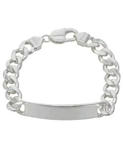 Silver Solid Mens Identity Bracelet