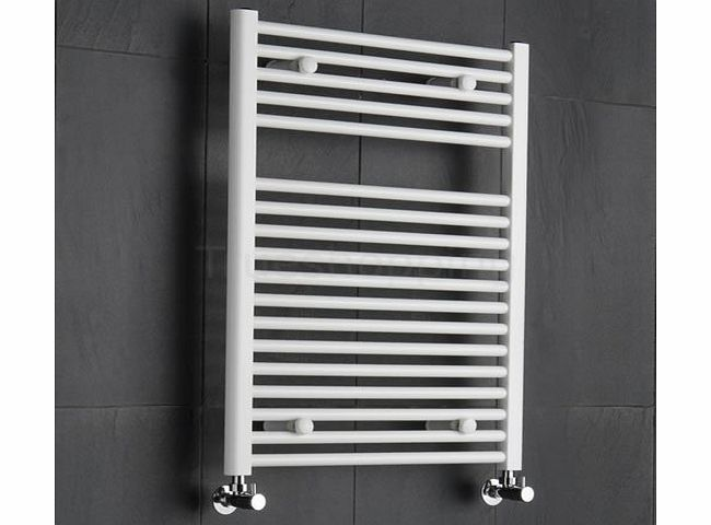 Sterling White Heated Towel Rail - Designer Ladder Style Straight Bathroom Radiator Warmer - 800mm x 600mm product image