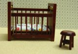 Streete Ahead Dolls House Cot and Stool 1/24 scale product image