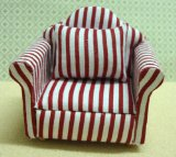 Streets Ahead Dolls House Armchair Red Stripe product image