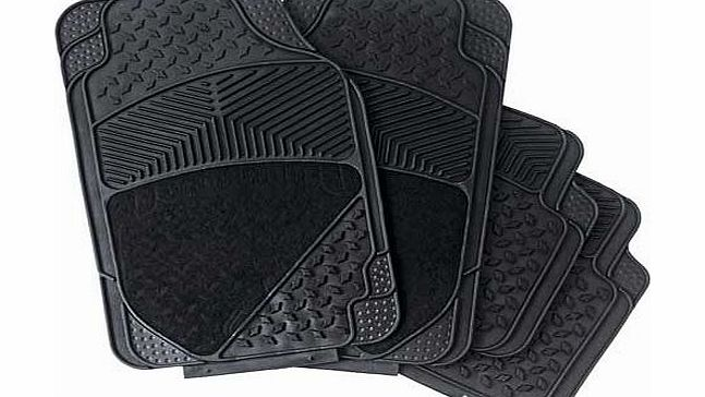 Featuring reinforced heel pads for additional protection. this set of 4 Premium Rubber and Carpet Car Mats will add style to any car interior whilst providing optimum grip due to the non-slip backing design. Although shaped for universal usage. you c - CLICK FOR MORE INFORMATION