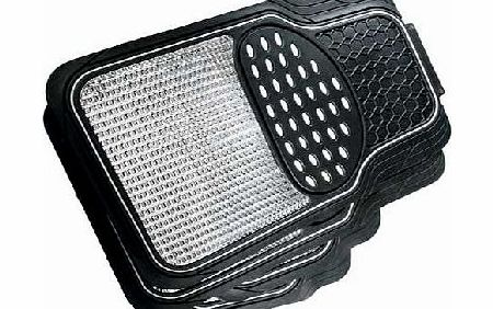 Keep the floor of your vehicle clean with these Urban X Heavy Duty Rubber Car Mats which have been designed to fit most vehicles. Super stylish with a white trim and matching heel pad with chrome effect inlay. they are extremely durable and have a no - CLICK FOR MORE INFORMATION
