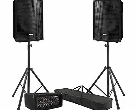 SubZero 300W SubZero PA System with FX Mixer Speakers and Stands