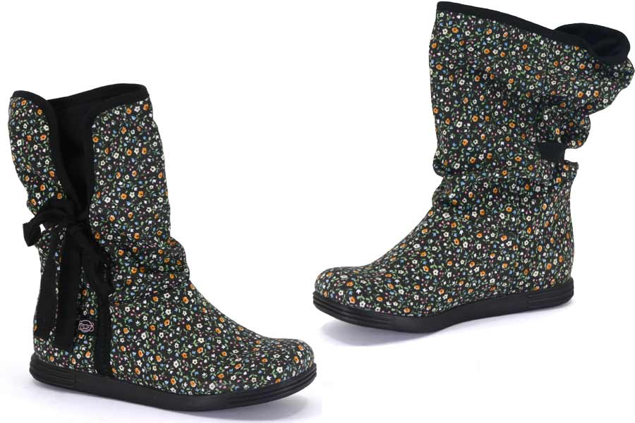 Sugar Morigami Asian Floral Fabric and Fleece Boot -