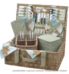 summer Flowers Picnic Basket-4 Person