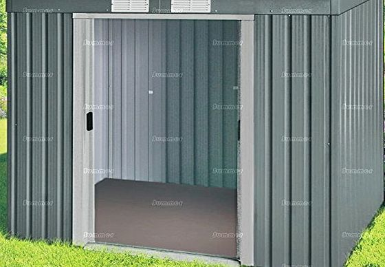 Summer Garden Buildings METAL SHED WITH TIMBER BASE/FLOOR - PENT ROOF, GALVANIZED STEEL - 40`` x 87``
