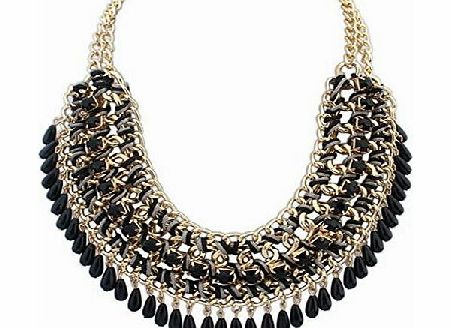 SUNNOW New Fashion Women Vintage Retro Bohemian Layered Colorful Gem Beads Pendants Tassel Bib Statement Chunky Chain Choker Necklace (Black) product image