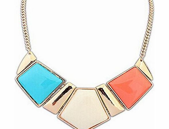 SUNNOW Womens Fashion Geometric Bib Statement Chunky Chain Collar Choker Necklace Pendant Jewellery (Multiple Color) product image