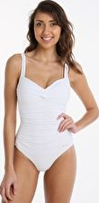 Sunseeker, 1295[^]264602 Solid Twist Front One Piece D Cup - White