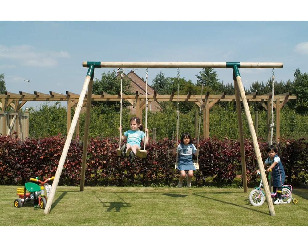 Supertramp Double Wooden Swings Set with Climbing Rope product image