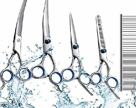 Swify 5pcs Stainless Steel Professional PET DOG Home Grooming Scissors Suit Cutting Curved Thinning Shear
