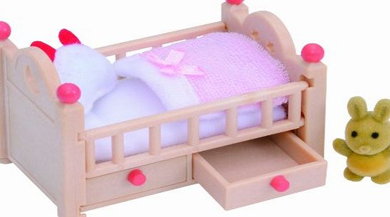 The Sylvanian Families Baby Crib includes bedding and miniature teddy bear toy. - CLICK FOR MORE INFORMATION